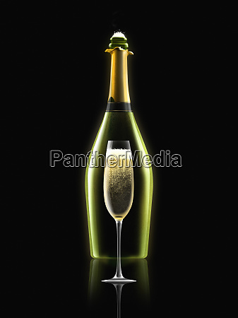 bottle of champagne with champagne flute