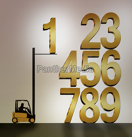 forklift truck stacking numbers in order