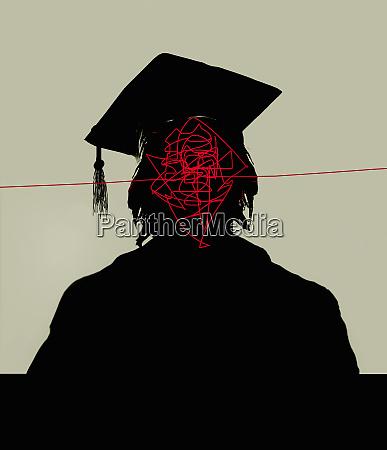 tangled lines inside of graduates head