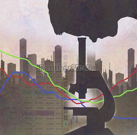 man analysing city finance data under