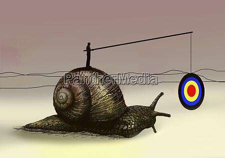man dangling target in front of
