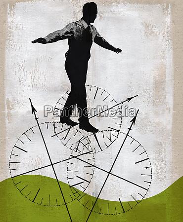 businessman balancing on compass wheels