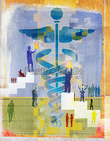 people approaching caduceus as symbol for