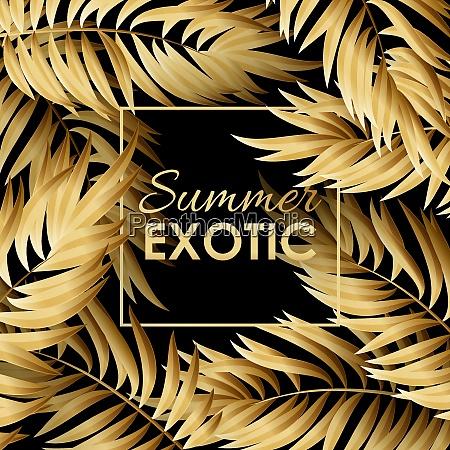 palm leaves pattern gold palm