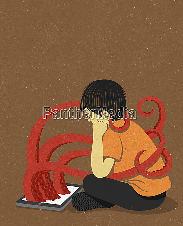 boy being wrapped by octopus tentacles