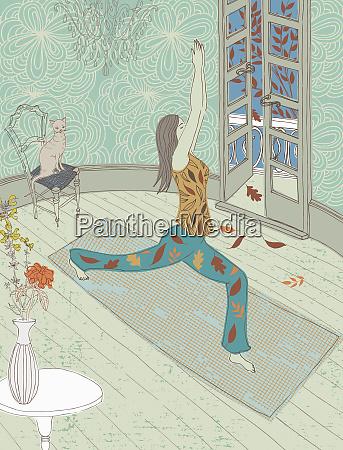 woman doing yoga in lounge in