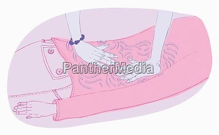 close up of hands massaging back