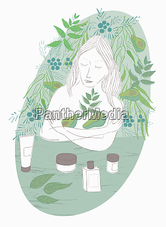 woman embracing avocado skin care