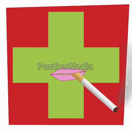 lips smoking cigarette on pharmacy sign