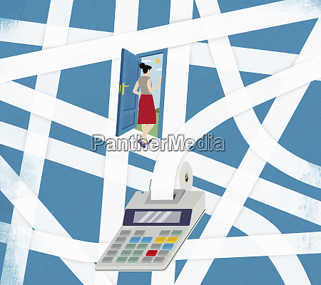 woman escaping from tangled adding machine