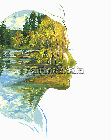 autumn forest and lake scene inside