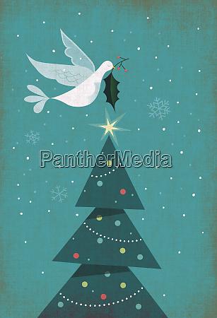 christmas card with christmas tree dove