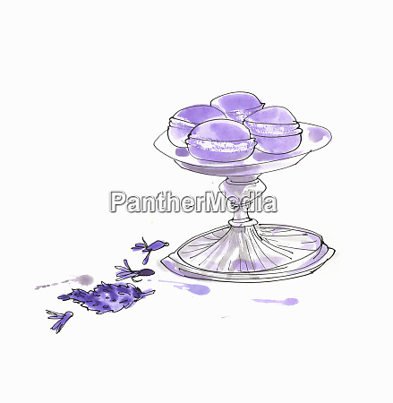 lavender macaroons on cake stand