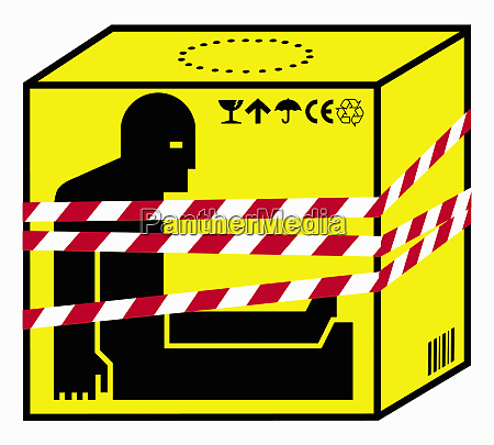 refugee inside of box fastened with