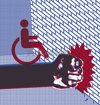 disabled sign on clenched fist hitting