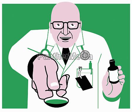 doctor offering medicine on spoon