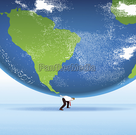 businessman as atlas carrying world on