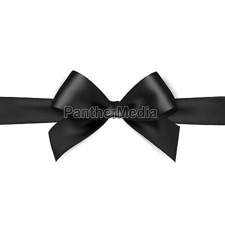 shiny black satin ribbon on white