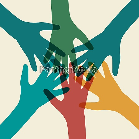 team symbol multicolored hands