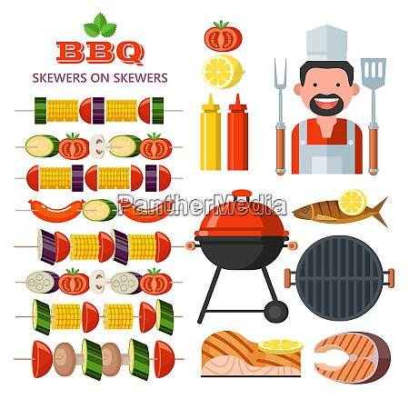 barbecue grill emblem logo colorful vector