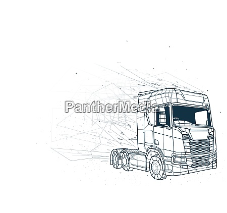 abstract truck low poly wireframe