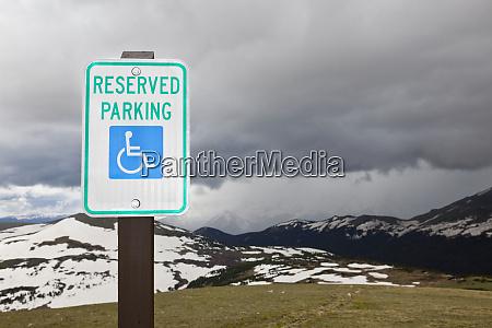 handicap parking sign at a national