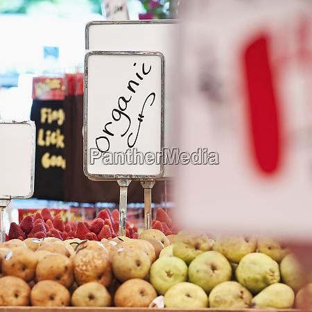 sign advertising organic produce