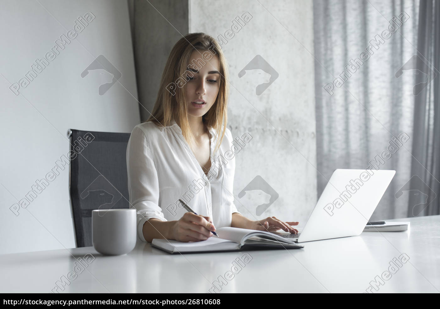 young, businesswoman, writing, notes, while, working - 26810608