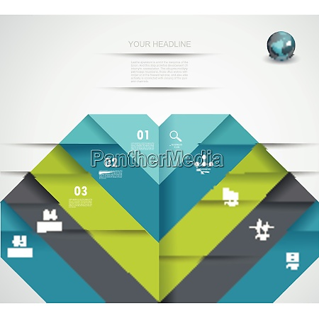 infographic design template with folded paper