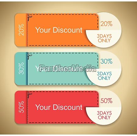 vector set of discounts cute gift