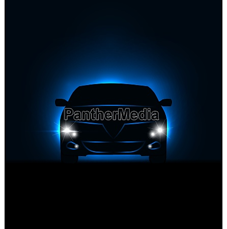 illustration silhouette of car with headlights