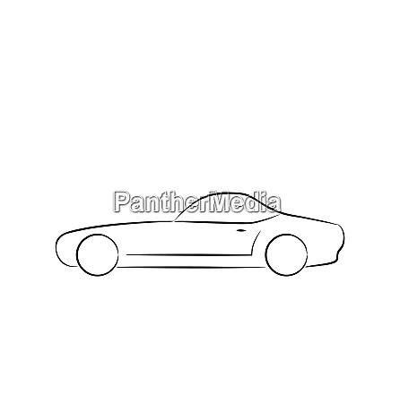 illustration abstract sport carprofile isolated on