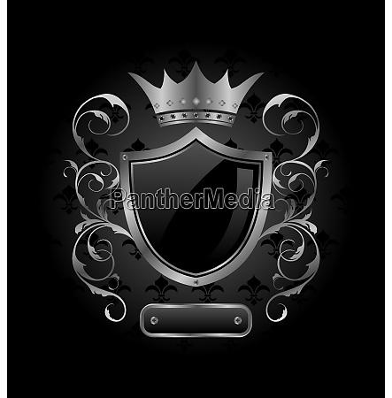 illustration ornate heraldic shield with crown