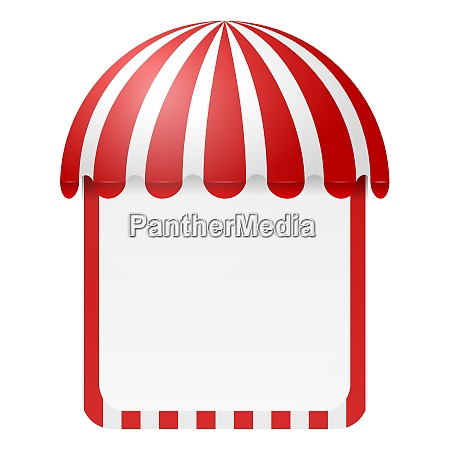 striped awning with space for text