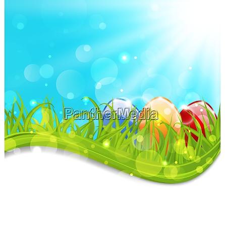 illustration april card with easter set