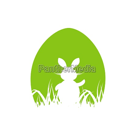 illustration cartoon easter poster with rabbit