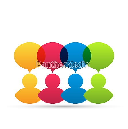 illustration colorful people icons with dialog