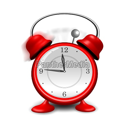 illustration red alarm clock close up