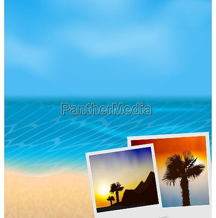 illustration set vacation beautiful beach photographies