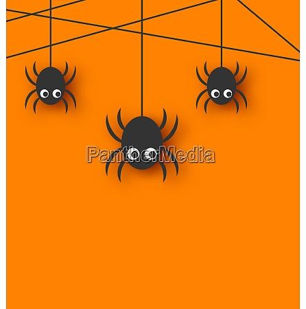 illustration cute funny spiders and cobweb