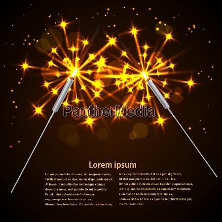 sparklers on black background vector illustration