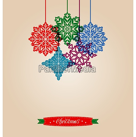 illustration christmas vintage card with snowflakes
