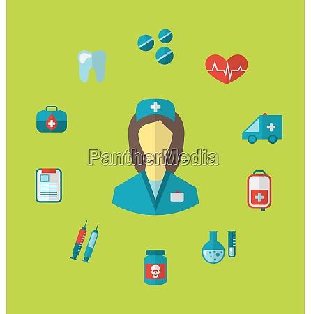 illustration set trendy medical icons in
