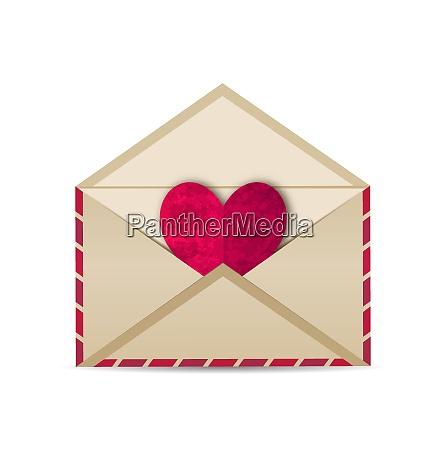 illustration open vintage envelope with paper