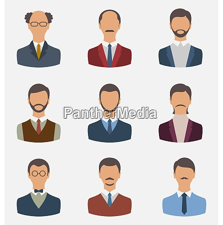 illustration set business people front portrait