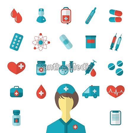illustration set trendy flat medical icons