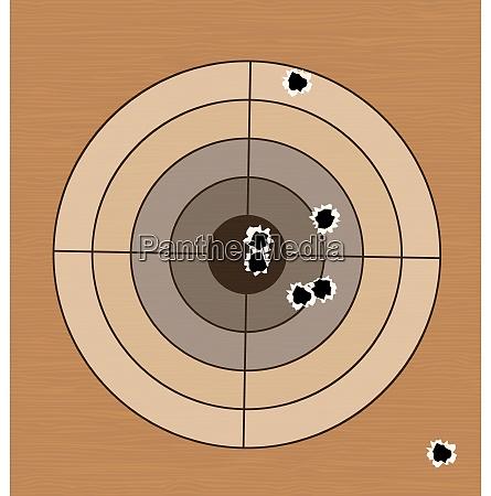 illustration shooting range target with bullet