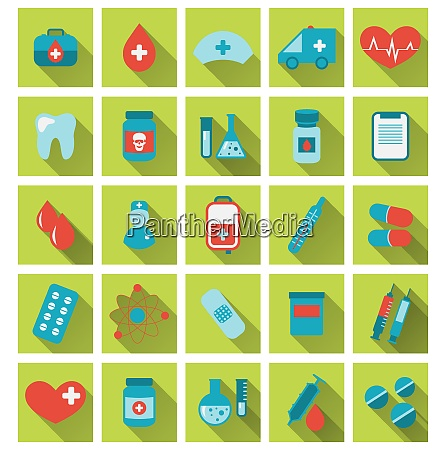 illustration collection trendy flat medical icons