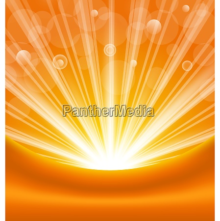 illustration abstract orange background with sun
