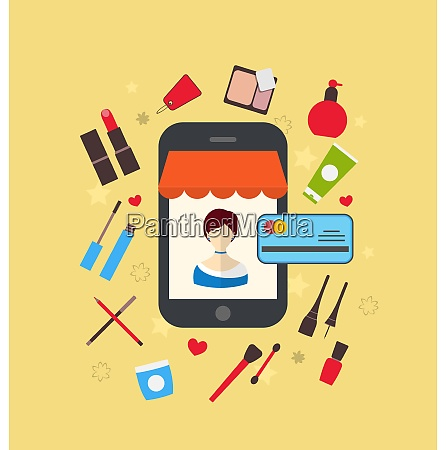 illustrations woman buys cosmetic merchandises in